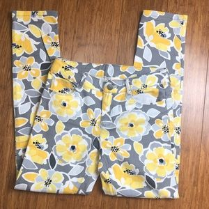 Gymboree size 10 yellow and gray floral skinny